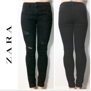 Zara Black Mid Rise Skinny Destroyed Denim Jeans 8